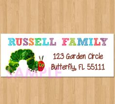 Very Hungry Caterpillar Address Label  by HannahsCustomDesigns