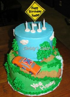 Dukes of Hazzard wedding cake, with the bride and gr0om in the car somehow.... omg omg
