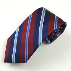 Stafford Mens Silk Necktie Striped Navy Blue and Burgundy  #Stafford #Tie