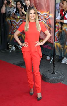 Cheryl Cole.. Stella McCartney jumpsuit, and Saint Laurent 'Classic Paris 105′ studded pumps..