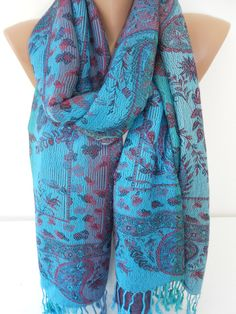 Turquoise Pashmina Scarf Shawl Paisley Scarf Blue Wedding Scarf Spring Fall Winter Fashion Scarf Women Fashion Accessories Gift For Her