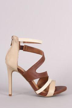 Anne Michelle Strappy Slanted Peep Toe Stiletto Heel – Style Lavish