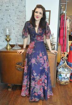 Vintage floral angel sleeve boho festival maxi dress 8 10  from Bang Bang