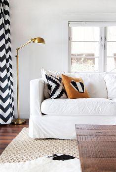gold floor lamp/ black & white