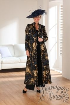 Florentyna Dawn Tailored Long Coat in abstract NavyBlack and Gold-FD619