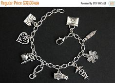 MOTHERS DAY SALE Emt Bracelet. Medical Technician Charm Bracelet. Emergency Medical Technician Bracelet. Medical Bracelet. Silver Bracelet. by GatheringCharms from Gathering Charms by Gilliauna. Find it now at http://ift.tt/1YHbKUA!