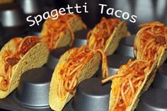 Spaghetti Tacos--there's a reason why I pinned this in the kids section and not the food section. I like the idea of using the bottom of a muffin tin to hold the taco shells, though.