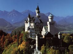 This is a beautiful picture of Neuschwanstein Castle in Germany.  I want to go there in every season.  It's gorgeous!