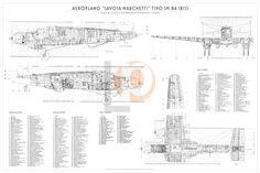 Aeroplano S.I.A.I. Marchetti SM.84-Cod. SM84-126x84 TRE VISTE