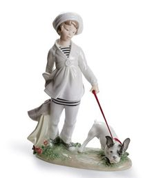 LLADRO - GIRL WITH FRENCH BULLDOG  Available at Houston Jewelry  www.houstonjewelry.com