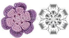 szydełkowe kwiaty wzory schematy - Szukaj w Google