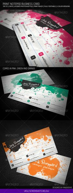Paint Notepad Business Card #GraphicRiver Hi Thank you for purchasing the Paint Notepad Business Card. General Description: This card would be perfect for a webdesigner or graphic designer. All text layers are full type and can be edited very easily. Layered Photoshop file (.psd) with both the front and back design—well labeled with guides for the bleed @ 300dpi, Colors can be changed easily with the blending options in photoshop. The business card comes in three colors. pink, green and…