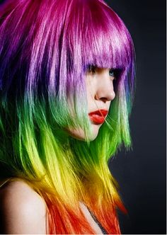 Neon hair and makeup