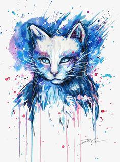 O Gato,Pintura,Azul,O,Gato