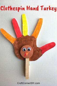 Clothespin Hand Turkey Thanksgiving Kids Craft | Craft Corner DIY