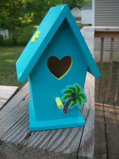 Teal and Lime Tropical Birdhouse