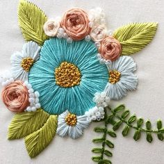 Stitching Sanity — (via leisha' s galaxy embroidery arly Mother's Day gift for my mum 💐 Embroidery Flowers Pattern, Hand Embroidery Stitches, Embroidery Hoop Art, Crewel Embroidery, Hand Embroidery Designs, Embroidery Techniques, Ribbon Embroidery, Embroidery Ideas, Embroidery Supplies