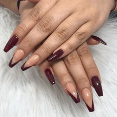 Burgundy Acrylic Nails, Burgundy Nail Designs, Fall Nail Art Designs, Fall Acrylic Nails, Cute Nails For Fall, Really Cute Nails, Fall Nails, Thanksgiving Nail Designs, Thanksgiving Nails