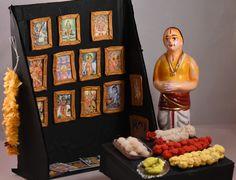 Photo Frame Stall  - (Golu 2015 - Santhai / Market) Doll Crafts, Diy Doll, Clay Crafts, Diy And Crafts, Paper Crafts, Bal Gopal, Homemade Dolls, Wedding Doll, Indian Dolls