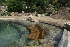 Pool bench rock stone pond swimming pond Z Mesh, An Innovative Floor Heati Swimming Pool Pond, Natural Swimming Ponds, Natural Pond, Swimming Pool Designs, Outdoor Pool, Outdoor Gardens, Small Pools, Dream Pools, Ponds Backyard