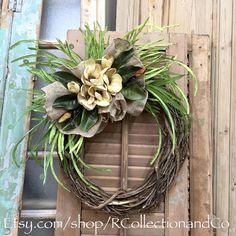 Door Wreath, Floral Wreath, Fall Wreath, Door Decor, Magnolia Grapevine Wreath by RcollectionandCo on Etsy https://www.etsy.com/listing/281518908/door-wreath-floral-wreath-fall-wreath
