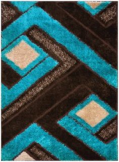Royal Collection Turquoise Blue Brown Contemporary Geometric Abstract Design Gy Area Rug 6016 3 X4 11