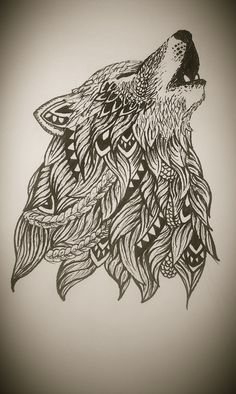 Zentangle wolf https://www.facebook.com/mardepedres/