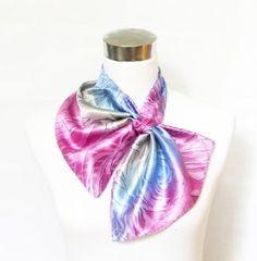 Silk-Feel Magic Fashion Neck Scarf - Ombre Pink/Blue Animal And Flower Design (40+ tying styles) Silkcharm. $6.95