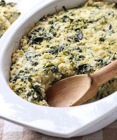 Spinach Artichoke Quinoa Casserole - so easy to VEGANIZE and make way healthier!