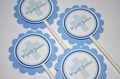 12 Cupcake Toppers Boy's Baptism, First Communion. $10.00, via Etsy.