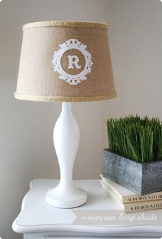 DIY monogram lamp shade. not sure i'd make a lamp shade, but i love the blog on how to make it