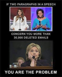 More like two lines in a speech. This has been going on for years but emails that leave America unsafe, typical Hillary