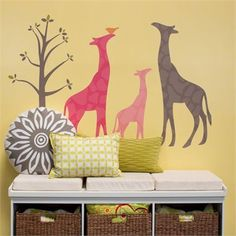 @rosenberryrooms is offering $20 OFF your purchase! Share the news and save!  Modern Giraffe Pink Peel & Place Wall Stickers #rosenberryrooms