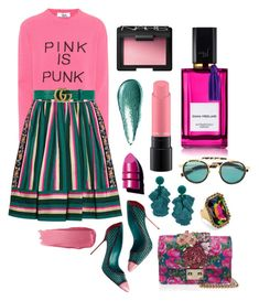 """Pink is Punk"" by cherieaustin ❤ liked on Polyvore featuring Giorgio Armani, Valentino, Bobbi Brown Cosmetics, NARS Cosmetics, MAC Cosmetics, Etro, Sergio Rossi, Sachin + Babi, Anastasia Beverly Hills and Diana Vreeland"