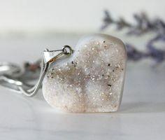 Agate Druzy Heart Pendant #etsy #heart #pendant #white #snow #sparkly #valentine #wedding