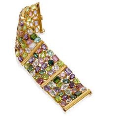 Multicolored Gemstone Bracelet with 160.32ct in total - kunzites, tourmalines, rubillites, amethyst, and peridots - yes, please!