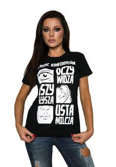Czarna koszulka damska 'Śmierć Konfidentom' - przód ---> Streetwear shop: odzież uliczna, kibicowska i patriotyczna / Przepnij Pina!