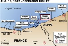This map shows the exact routes of No.3 Commando, Royal Regiment, Essex Scottish, Calgary Tanks, Royal Marines, RHLI, Fusilier Mont-Royal, South Saskatchewans, Camerons, and No. 4 Commando during Operation Jubilee. August 19th, 1942.  http://www.dday-overlord.com/seconde_guerre_mondiale/dieppe-1942-sacrifice-canadien-t479.html