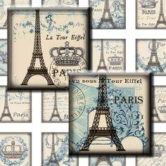 Paris Shabby blue. French Crown Eiffel tower