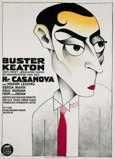 Buster Keaton in a Scandinavian movie poster (probably for Casanova wider Willen, 1931*) by Sven Brasch