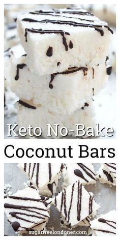 These soft, chewy coconut bars are healthy dessert heaven. NO-BAKE and made with only 5 ingredients, you'll never guess these decadent-tasting candy bars are low carb, Keto and sugar free! desserts No Bake Keto Coconut Bars