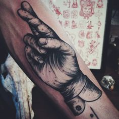 Tattoo and symbols. Home Trends home paint color trends 2017 Forearm Tattoos, Body Art Tattoos, New Tattoos, Hand Tattoos, Tatoos, Cross Finger Tattoos, Trending Paint Colors, Black Ink Tattoos, Crossed Fingers