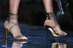 "Shoe Style: ""Sexy Glam"" bedazzled crystal straps sandals at Alexandre Vauthier #Couture #SS17 #Paris #PFW"