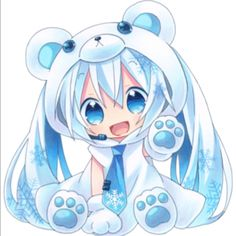 VOCALOID Chibi Yuki/Snow Miku I just love chibi art so cute even though I am not sure of original story or characters Manga Anime, Manga Kawaii, Kawaii Chibi, Anime Art, Miku Chibi, Hatsune Miku, Anime Love, Awesome Anime, Dibujos Anime Chibi