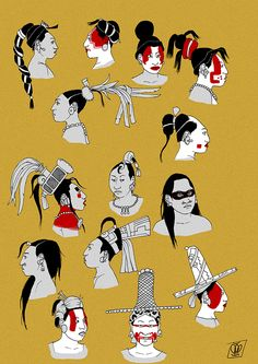 Maya women hairstyles and headwear in the Classic period (c.600-900). Based on primary sources: vase paintings, murals, ceramics, figurines, bone carvings, stelae etc.