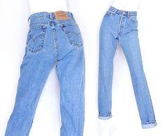 "Size 4 5 Levi's 560 High Waisted Women's Jeans - Vintage 90s Stone Washed Medium Blue Women's Loose Fit Boyfriend Jeans - 27"" Waist"