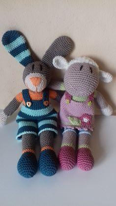 Hase+Tom+und+Lamm+Annie.+Es+wird+ein+Ostergeschenk+für+meine+Enkel.