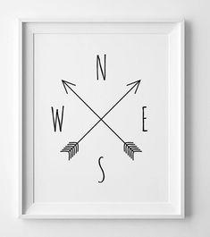Printable art Compass cardinal directions by WallArtPrintables Cardinal Directions, Baby Room Diy, Kunst Poster, Poster Design, Digital Wall, Wall Art Quotes, Minimalist Art, Nursery Art, Arrow Nursery