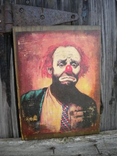 Hey, I found this really awesome Etsy listing at https://www.etsy.com/listing/129566547/vintage-sad-clown-painting-transfered