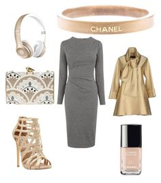 """Grey and gold"" by kaye-viecelli on Polyvore featuring Whistles, KOTUR, Elie Saab, Steve Madden, Beats by Dr. Dre, Chanel, women's clothing, women's fashion, women and female"